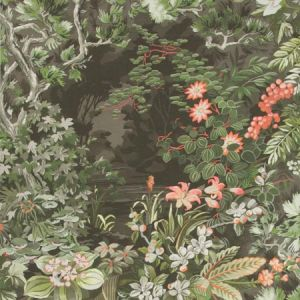 115/4011-CS WOODLAND Coral Olive Charcoal Cole & Son Wallpaper
