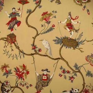 WP81605-004 MING CIRCUS Multi On Tea Scalamandre Wallpaper