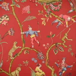WP81547-002 CHINOISE EXOTIQUE Tomato Scalamandre Wallpaper