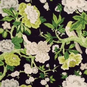 Schumacher Bermuda Blossoms Jet Fabric