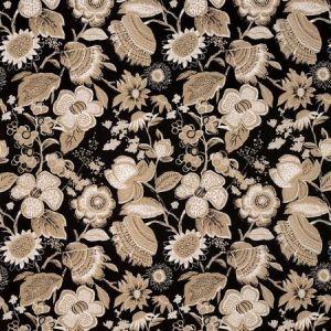 Schumacher Tikki Garden Lava Black Fabric