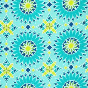 Schumacher Soleil L.A. Print Aqua Fabric
