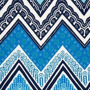 Schumacher Tangier Frame Print Ocean Fabric