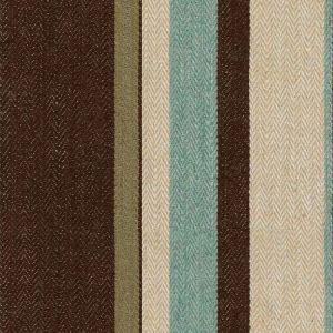 Groundworks Drummond Stripe Aqua Cocoa Fabric