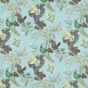 Schumacher Peacock Aqua Fabric
