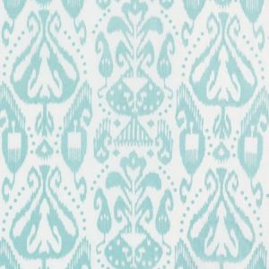 Schumacher Kiva Embroidered Ikat Sky Fabric