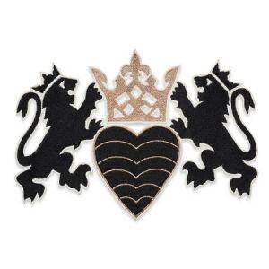 73020 Lionheart Applique Black & Gold Schumacher Applique