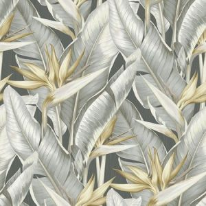 PS40200 ARCADIA Grey Banana Leaf Brewster Wallpaper