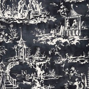 SC 0004165 SUMMER PALACE Charcoal Scalamandre Fabric