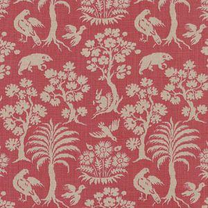 176171 WOODLAND SILHOUETTE Rhubarb Schumacher Fabric