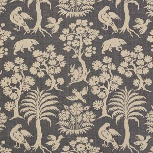 176175 WOODLAND SILHOUETTE Steel Schumacher Fabric