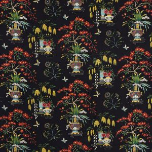 176730 MING VASE Black Schumacher Fabric