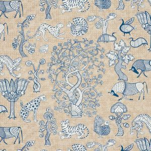 178320 ANIMALIA Blue Natural Schumacher Fabric