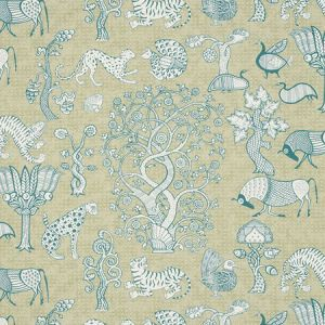 178321 ANIMALIA Peacock Leaf Schumacher Fabric