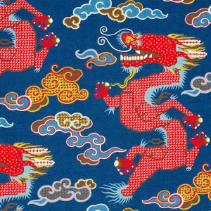 178590 MAGICAL MING DRAGON Navy Schumacher Fabric