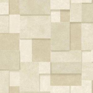 2922-25355 Duchamp Metallic Squares Wheat Brewster Wallpaper