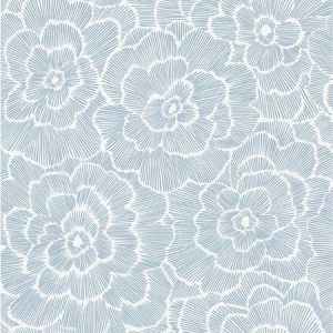 2969-26039 Periwinkle Textured Floral Blue Brewster Wallpaper