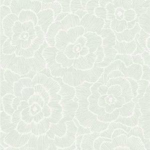 2969-26040 Periwinkle Textured Floral Green Brewster Wallpaper