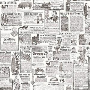 3119-13081 Underwood Vintage Newspaper Black Brewster Wallpaper