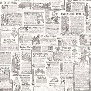 3119-13082 Underwood Vintage Newspaper Taupe Brewster Wallpaper
