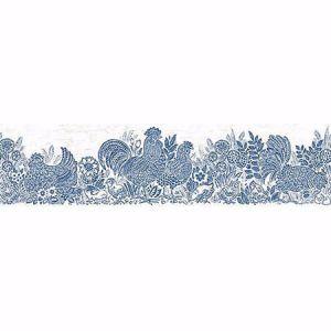3119-13551B Parton Chicken Border Blue Brewster Wallpaper