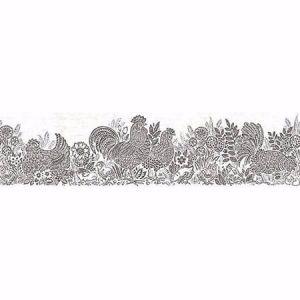 3119-13552B Parton Chicken Border Black Brewster Wallpaper