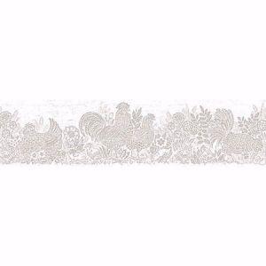 3119-13554B Parton Chicken Border Light Grey Brewster Wallpaper