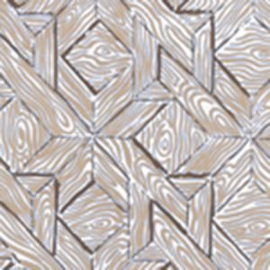6280-01WP PARQUETRY Brown Camel On White Quadrille Wallpaper