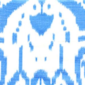 6460-03WP ISLAND IKAT Zibby Blue On White Quadrille Wallpaper