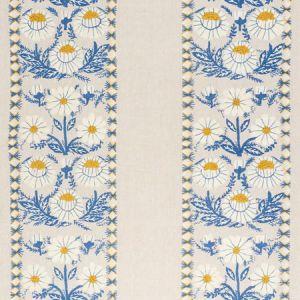72332 MARGUERITE EMBROIDERY Blue Ochre Schumacher Fabric