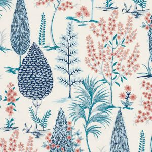 74170 PANDORA EMBROIDERY Delft Rose Schumacher Fabric