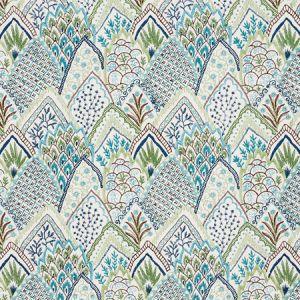 76311 ALBIZIA EMBROIDERY Blue Green Schumacher Fabric