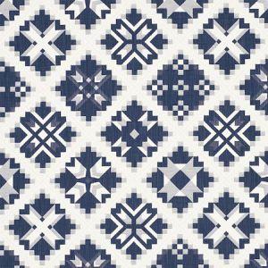 76760 TRISTAN PATCHWORK Indigo Schumacher Fabric