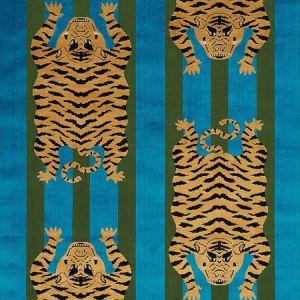 77230 JOKHANG TIGER VELVET Peacock Olive Schumacher Fabric