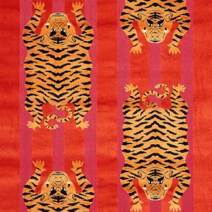 77231 JOKHANG TIGER VELVET Red Pink Schumacher Fabric
