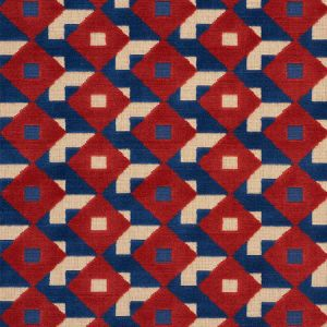 77241 DAZZLE SHIP VELVET Blue Red Schumacher Fabric