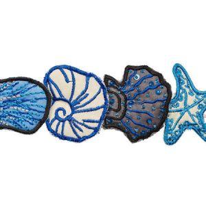 77260 SEA TREASURES TAPE Blue Schumacher Trim