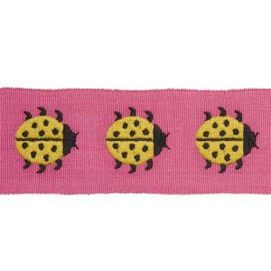 77391 LADYBIRD TAPE Yellow & Pink Schumacher Trim