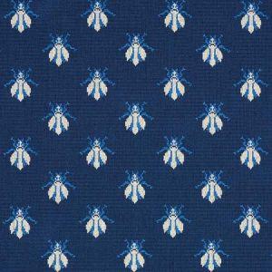 77411 BEE EPINGLE Blue Schumacher Fabric