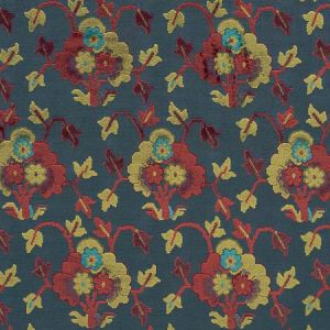 77741 JENNIE VELVET Blue Red Schumacher Fabric