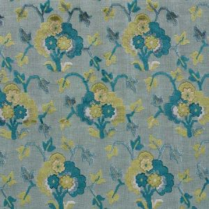 77742 JENNIE VELVET Peacock Celadon Schumacher Fabric