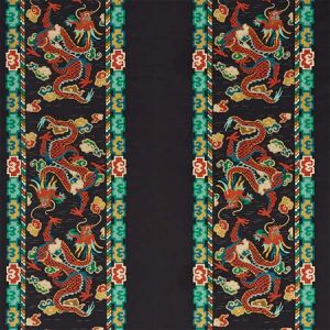 78090 LOTAN DRAGON EMBROIDERY Black Schumacher Fabric