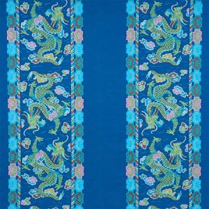 78091 LOTAN DRAGON EMBROIDERY Blue Schumacher Fabric