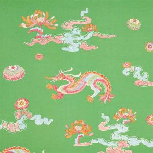 78112 HANLUN DRAGON EMBROIDERY Green Schumacher Fabric