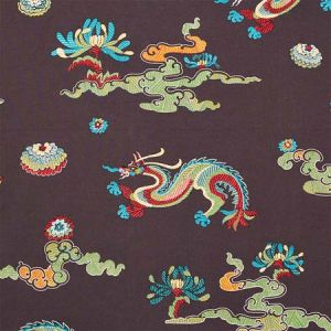78113 HANLUN DRAGON EMBROIDERY Charcoal Schumacher Fabric