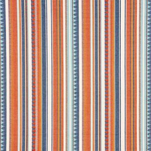 78730 ZUNI STRIPE Blue Orange Schumacher Fabric