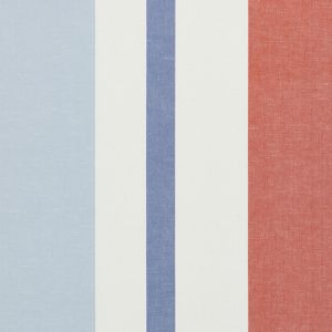 79662 LOLLAND LINEN STRIPE Sky Coral Schumacher Fabric