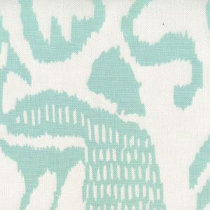 2435-51 BALI ISLE Aqua on White Linen Quadrille Fabric