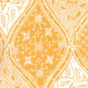 6630-06WP BALINESE BATIK Inca Gold Cream On White Quadrille Wallpaper