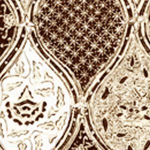6630CU-09 BALINESE BATIK Brown Cream on White Quadrille Fabric
